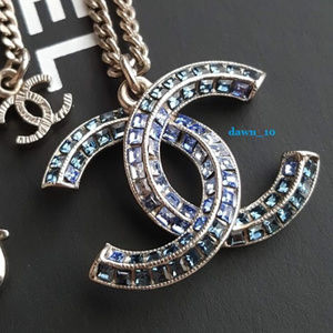 Chanel Blue Degrade Crystal CC Necklace, Silver